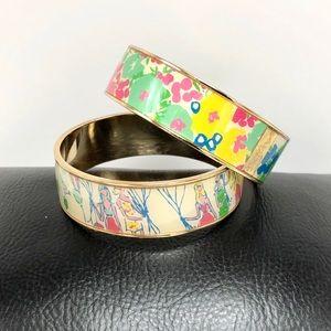 Lilly Pulitzer Gold & Enamel Bangle Bracelets (2)